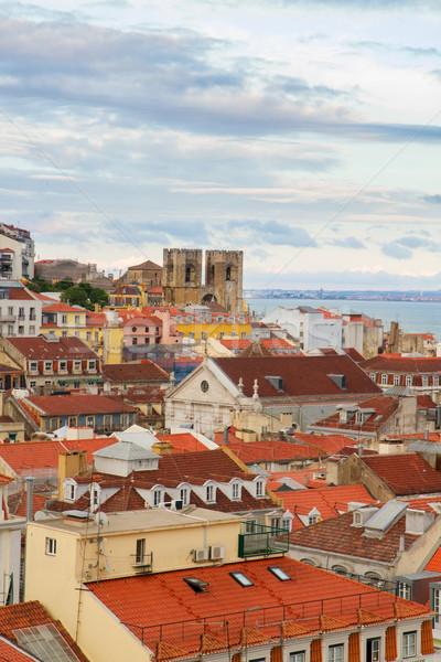 Vista Lisboa Portugal barrio antiguo catedral ciudad Foto stock © neirfy