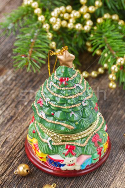 クリスマス 常緑 ツリー 装飾 木製のテーブル ガラス ストックフォト © neirfy