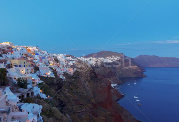 Stock fotó: Falu · éjszaka · Santorini · városkép · Görögország · égbolt
