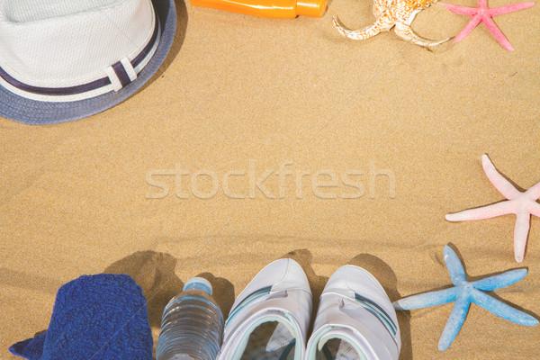 Verano marco botella agua estrellas de mar Foto stock © neirfy