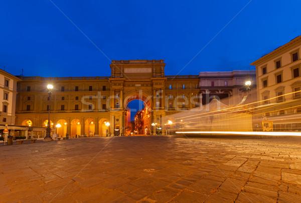 квадратный республика Флоренция Италия старый город ночь Сток-фото © neirfy
