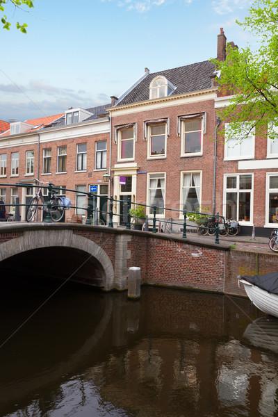 歴史的 センター オランダ 運河 橋 住宅 ストックフォト © neirfy