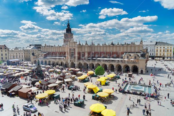 Mercado cuadrados cracovia Polonia tela sala Foto stock © neirfy