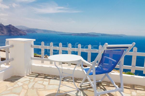 Santorini Görögország megnyugtató kék szék asztal Stock fotó © neirfy