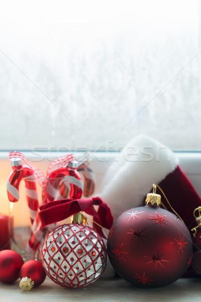 Noel sahne pencere eşiği süslemeleri kış arka plan Stok fotoğraf © neirfy