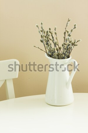 catkins in pot with easter eggs Stock photo © neirfy