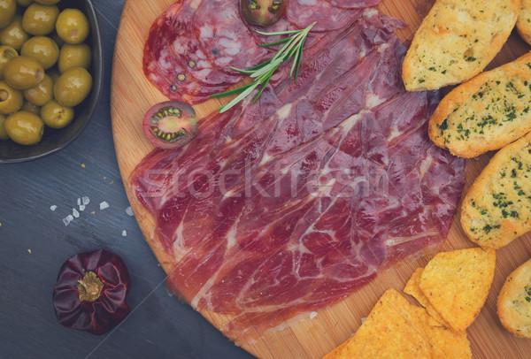 таблице испанский Тапас пластина чоризо Сток-фото © neirfy