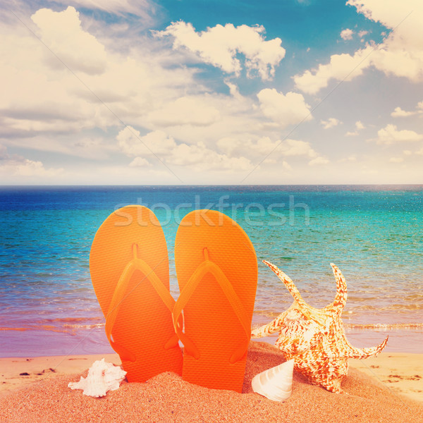 orange sandals and seashells in sand Stock photo © neirfy