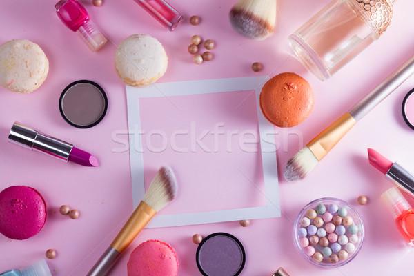 Stok fotoğraf: Makyaj · ürünleri · çerçeve · bo · pembe · kadın
