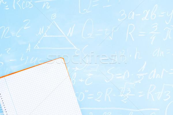 Zurück in die Schule minimal Szene blau math Formeln Stock foto © neirfy