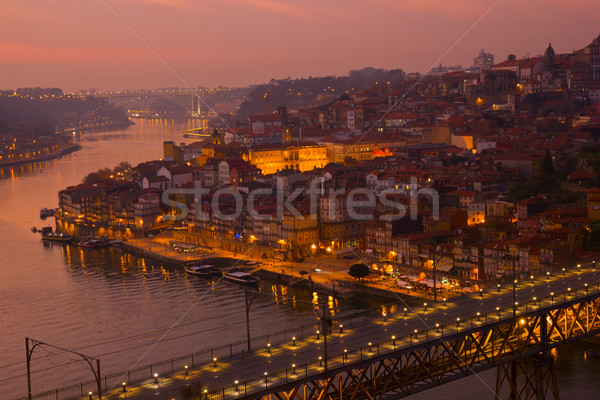 old town of Oporto at sunset, Portugal Stock photo © neirfy