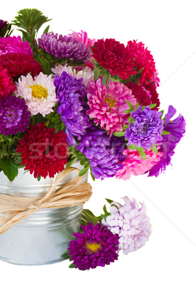 bouquet of   aster flowers in metal pot Stock photo © neirfy