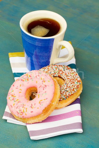 breakfast with fresh black coffee and donuts Stock photo © neirfy