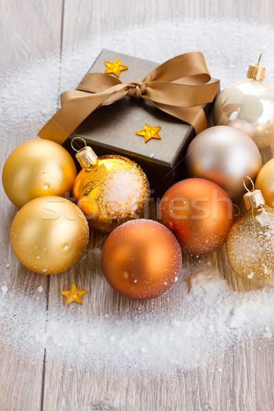 x-mas brown gift box close up Stock photo © neirfy