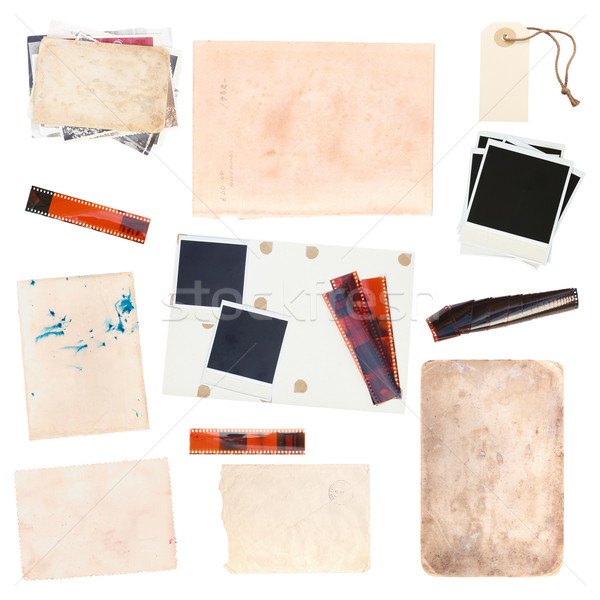 set of  old paper sheets and vintage photos Stock photo © neirfy