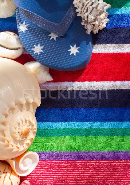Papucs strand törölköző tenger kagylók nap háttér Stock fotó © neirfy