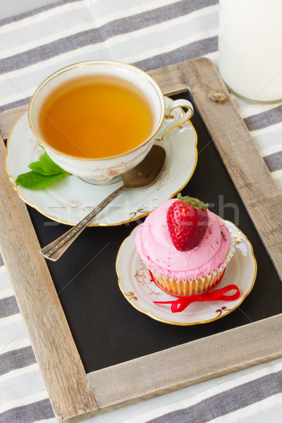 cup of tea and cupcake with strawberry Stock photo © neirfy