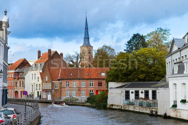 Sokak tarihsel kanal Belçika ev Stok fotoğraf © neirfy