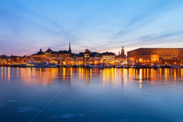 Linha do horizonte Estocolmo Suécia noite cidade velha pôr do sol Foto stock © neirfy