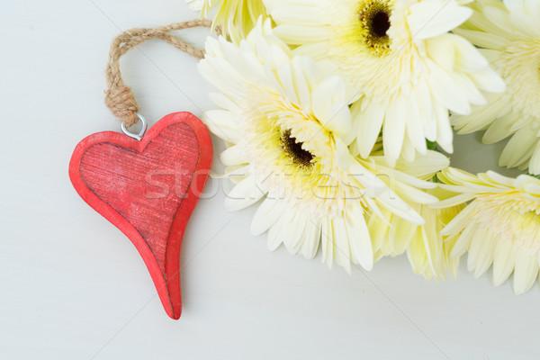 Bej çiçekler sevgililer günü gri ahşap masa mutlu Stok fotoğraf © neirfy