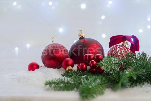 Сток-фото: Рождества · сцена · снега · красный · вечнозеленый