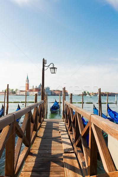 Móló csatorna Velence öreg fából készült Olaszország Stock fotó © neirfy