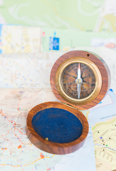 Old vintage compass Stock photo © neirfy
