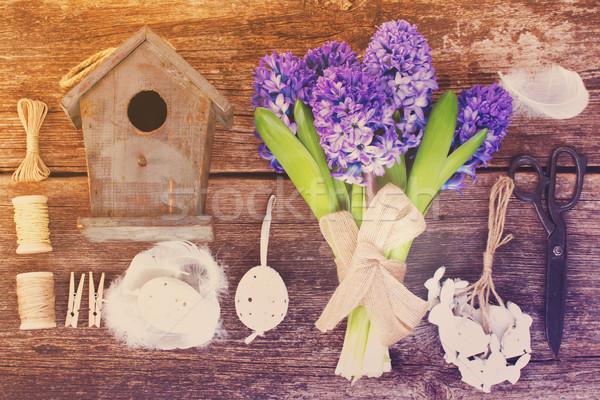 Kék jácint húsvét szett felfelé virágok Stock fotó © neirfy