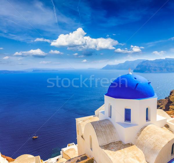 traditional blue dome with sea, Santorini Stock photo © neirfy