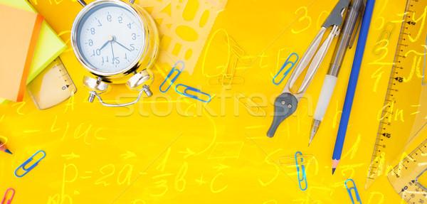 Okula geri ofis okul malzemeleri sarı matematik Stok fotoğraf © neirfy