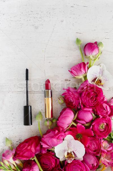 Virágok kozmetikai friss orchidea rúzs fehér Stock fotó © neirfy