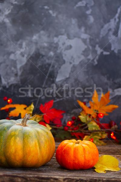 秋 収穫 カボチャ 2 秋 木製のテーブル ストックフォト © neirfy