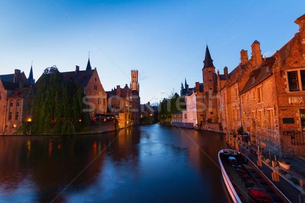 夜景 歴史的 旧市街 水 ツリー 建物 ストックフォト © neirfy