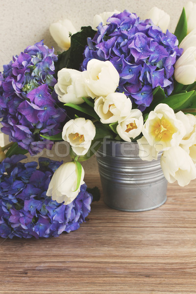 white tulips and blue hortensia flowers Stock photo © neirfy