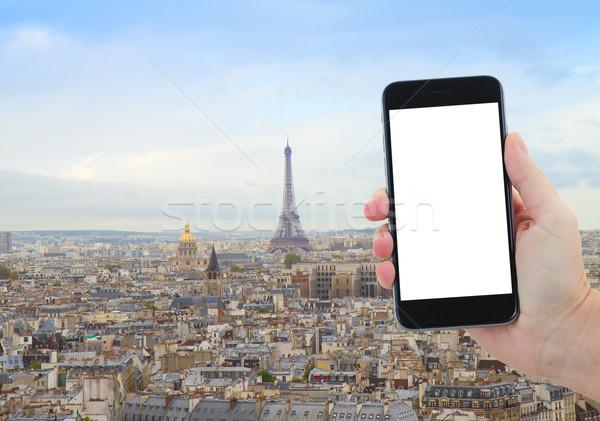Ufuk çizgisi Paris Eyfel Kulesi seyahat şehir üzerinde Stok fotoğraf © neirfy