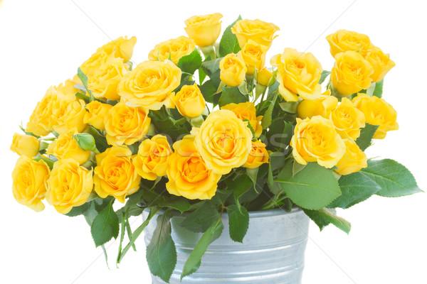 花束 新鮮な バラ 黄色 緑の葉 ストックフォト © neirfy