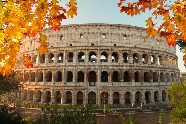 Colosseum naplemente Róma Olaszország kilátás épület Stock fotó © neirfy