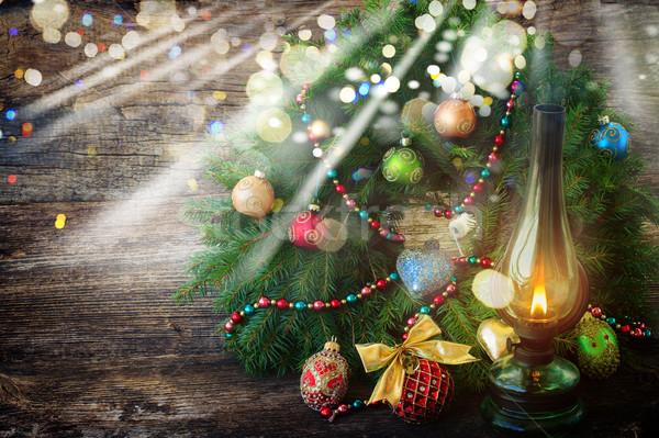 Vintage фонарь Рождества венок украшенный Сток-фото © neirfy