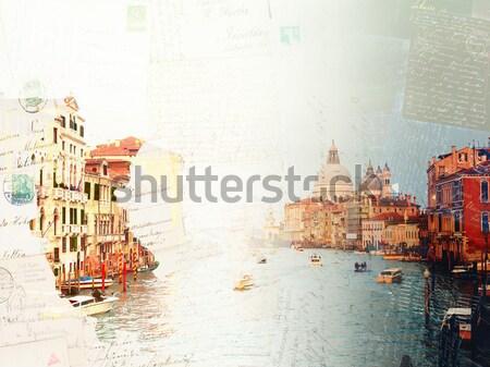 Water Griekenland vintage briefkaart zonnige Stockfoto © neirfy