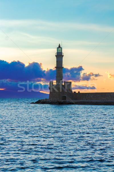 Phare Grèce mer coucher du soleil ciel eau Photo stock © neirfy