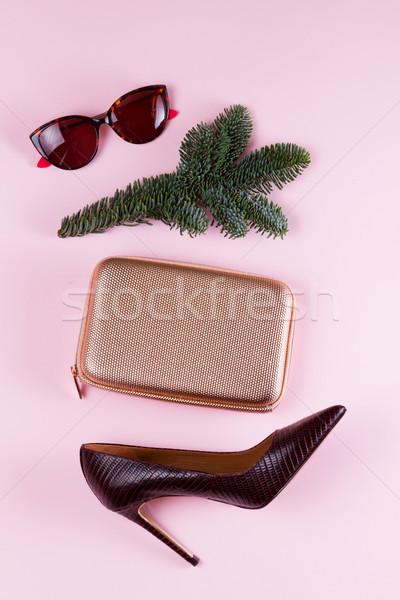 Talon chaussures Noël fête sac verres Photo stock © neirfy