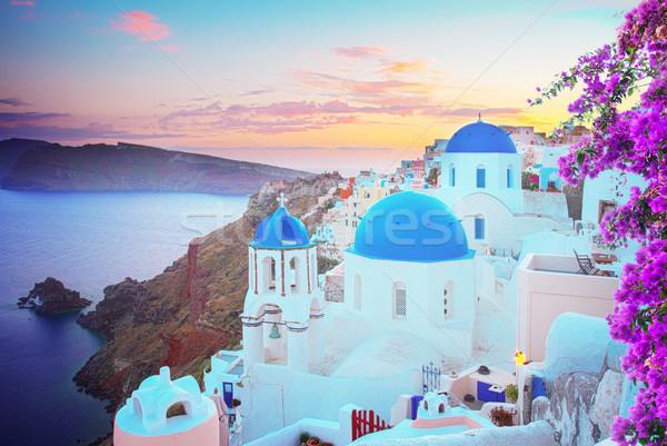 伝統的な ギリシャ語 村 サントリーニ 青 教会 ストックフォト © neirfy