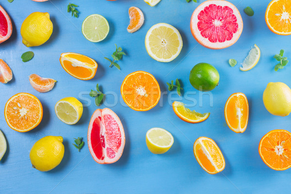 citrus pattern on blue Stock photo © neirfy
