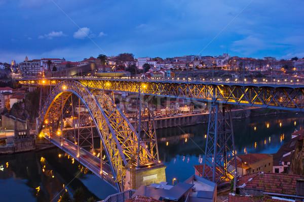 Stockfoto: Oude · nacht · Portugal · brug · hemel · water