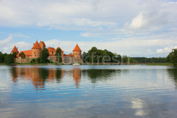 Meer kasteel Litouwen wolken zomer Rood Stockfoto © neirfy