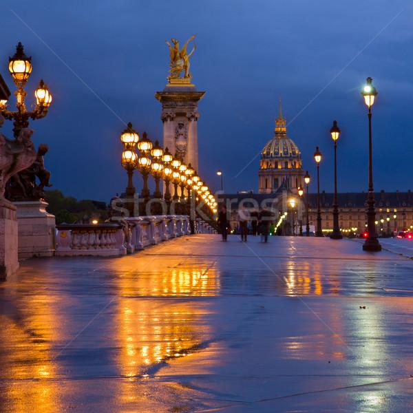 Stok fotoğraf: Köprü · Paris · Fransa · gece · Bina · seyahat