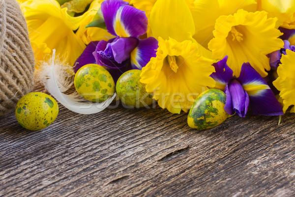 Húsvét nárciszok friss citromsárga díszítések fából készült Stock fotó © neirfy