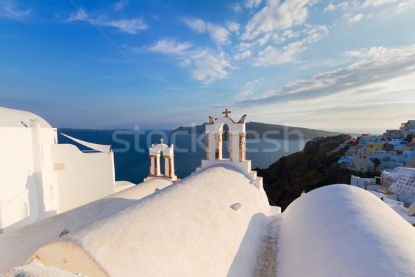 Foto stock: Branco · santorini · ilha · Grécia · igreja · vulcão