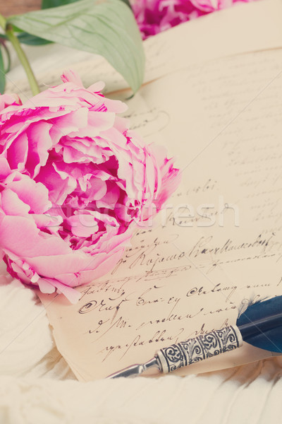 quill pen and antique letters Stock photo © neirfy