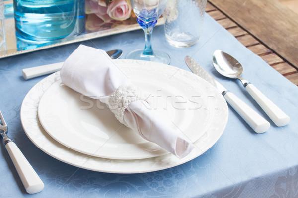 食器 セット 白 プレート カップ 青 ストックフォト © neirfy